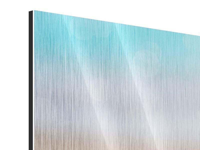 Panorama Metallic-Bild 3-teilig Die Muschel am Strand