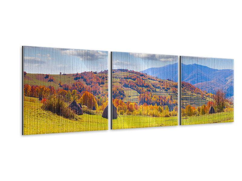 Panorama Metallic-Bild 3-teilig Herbstliche Berglandschaft