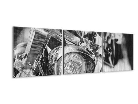 Panorama Metallic-Bild 3-teilig Motorrad Close Up