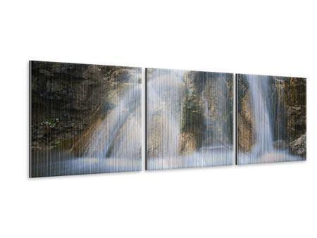 Panorama Metallic-Bild 3-teilig Imposanter Wasserfall