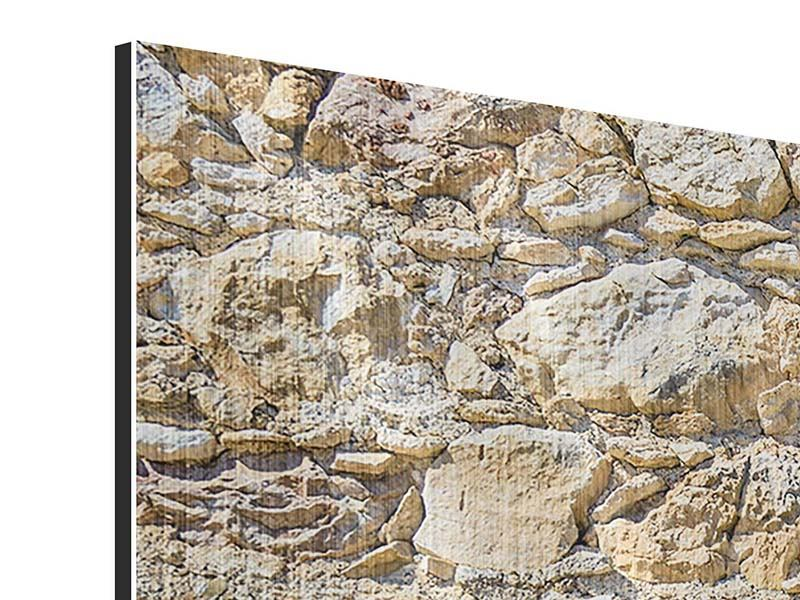 Panorama Metallic-Bild 3-teilig Sandsteinmauer