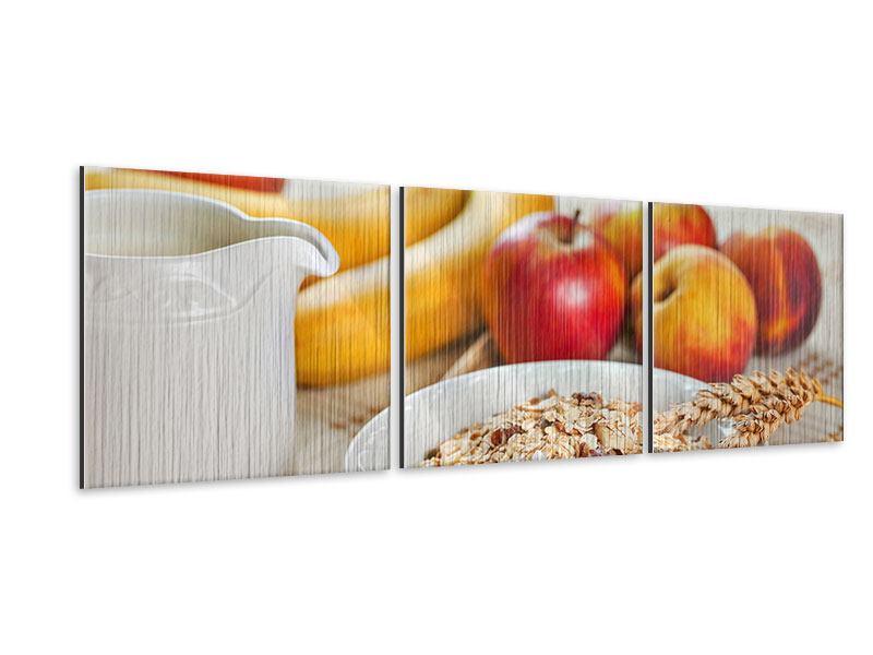 Panorama Metallic-Bild 3-teilig Frühstück