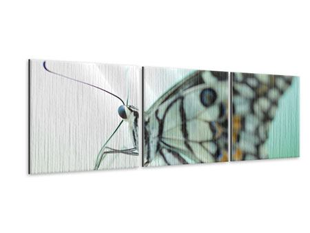 Panorama Metallic-Bild 3-teilig Schmetterling XXL