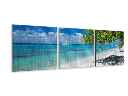 Panorama Metallic-Bild 3-teilig Happy Beach