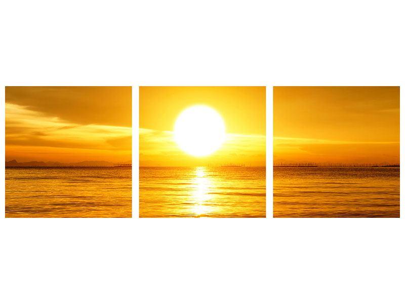 Panorama Metallic-Bild 3-teilig Traumhafter Sonnenuntergang