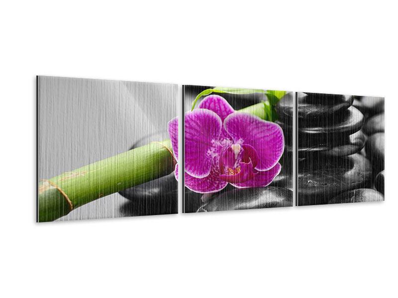 Panorama Metallic-Bild 3-teilig Feng-Shui-Orchidee
