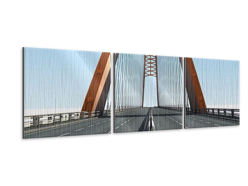Panorama Metallic-Bild 3-teilig Brückenpanorama