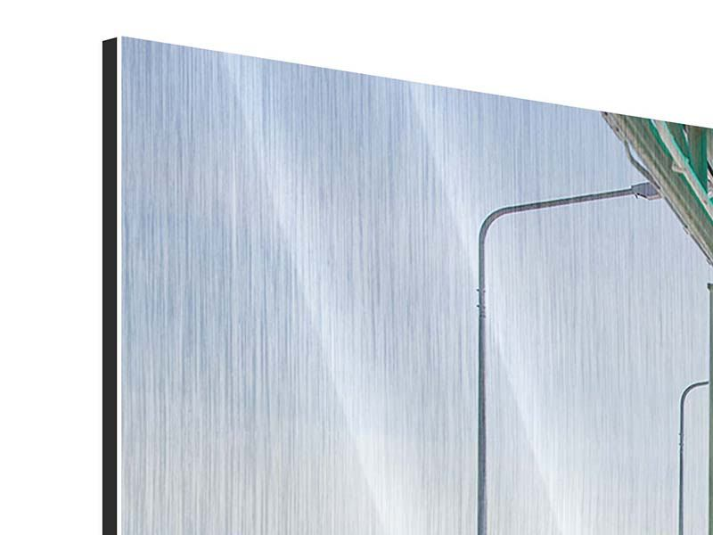 Panorama Metallic-Bild 3-teilig Die Brücke am Meer