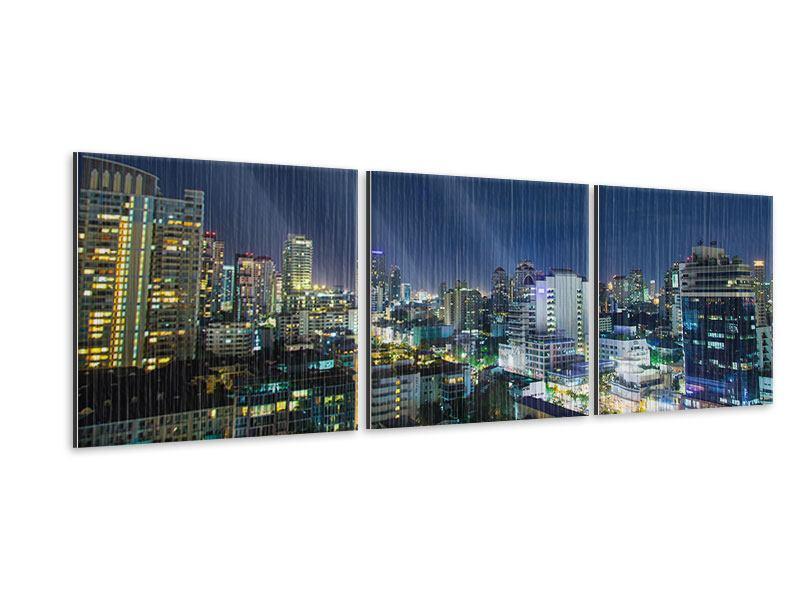 Panorama Metallic-Bild 3-teilig Skyline Nachts in Bangkok