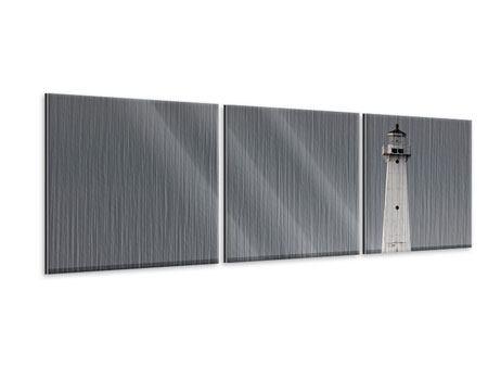 Panorama Metallic-Bild 3-teilig Der Leuchtturm bei Nacht