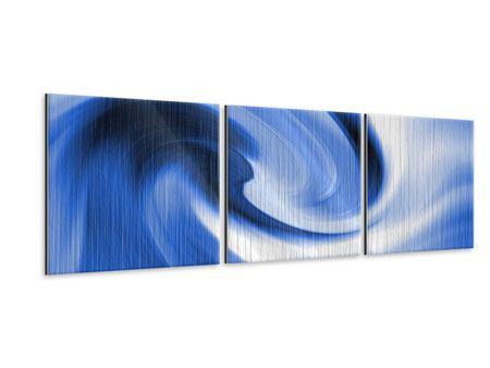 Panorama Metallic-Bild 3-teilig Abstrakte blaue Welle