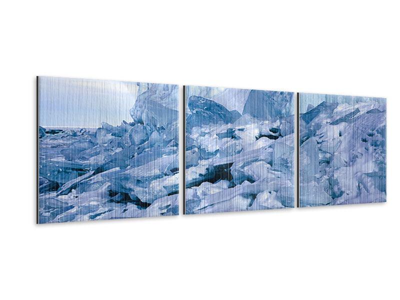 Panorama Metallic-Bild 3-teilig Eislandschaft Baikalsee