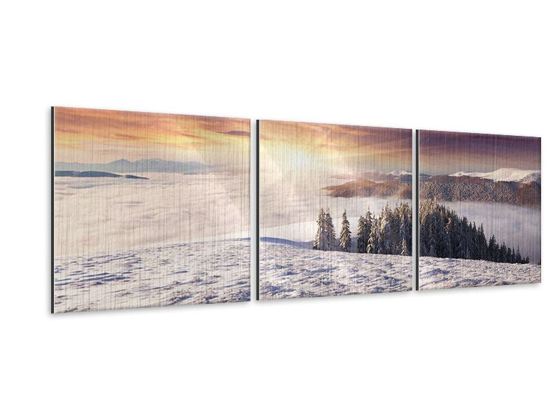 panorama metallic bild 3 teilig sonnenaufgang winterlandschaft. Black Bedroom Furniture Sets. Home Design Ideas