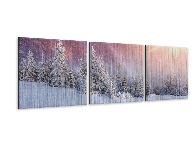Panorama Metallic-Bild 3-teilig Mystischer Schneesturm