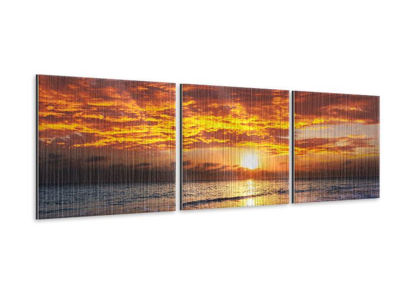 Panorama Metallic-Bild 3-teilig Entspannung am Meer