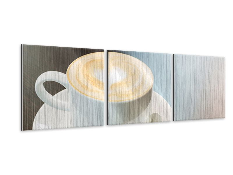 Panorama Metallic-Bild 3-teilig Lieblingskaffee