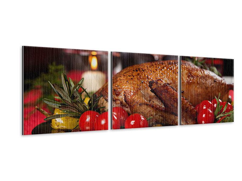 Panorama Metallic-Bild 3-teilig Köstliches Geflügel