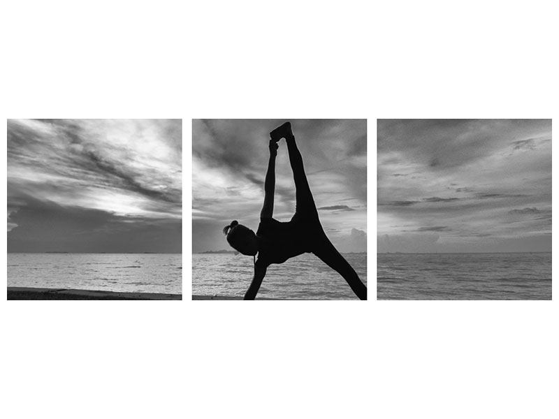 Panorama Metallic-Bild 3-teilig Yoga am Strand