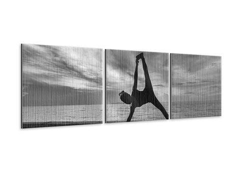 Panorama Metallic-Bild 3-teilig Yoga am Strand
