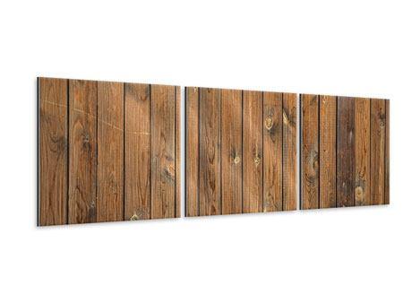 Panorama Metallic-Bild 3-teilig Bretterwand