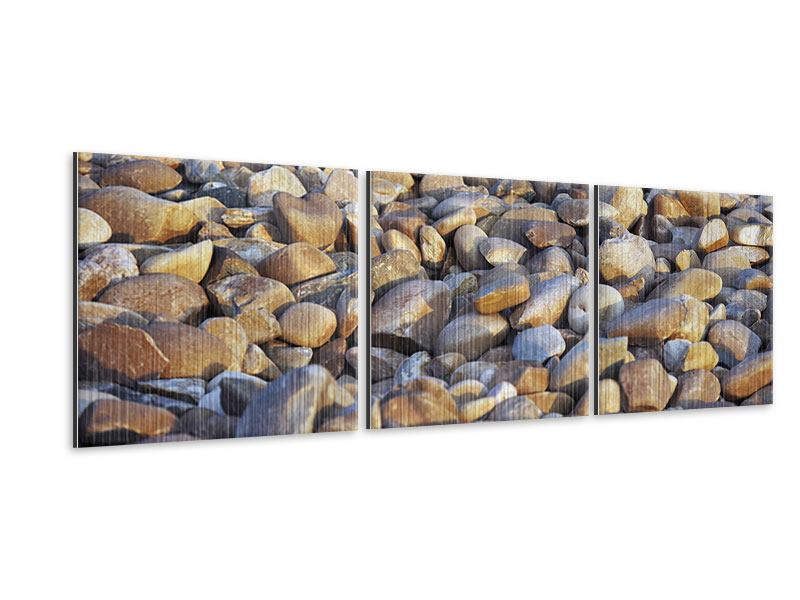 Panorama Metallic-Bild 3-teilig Strandsteine