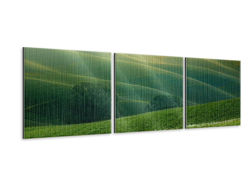 Panorama Metallic-Bild 3-teilig Toskana