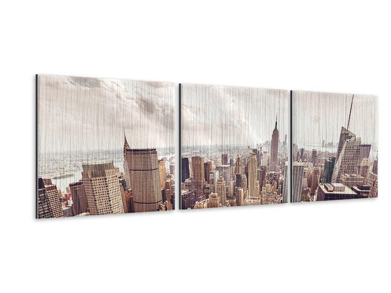 Panorama Metallic-Bild 3-teilig Skyline Über den Dächern Manhattans