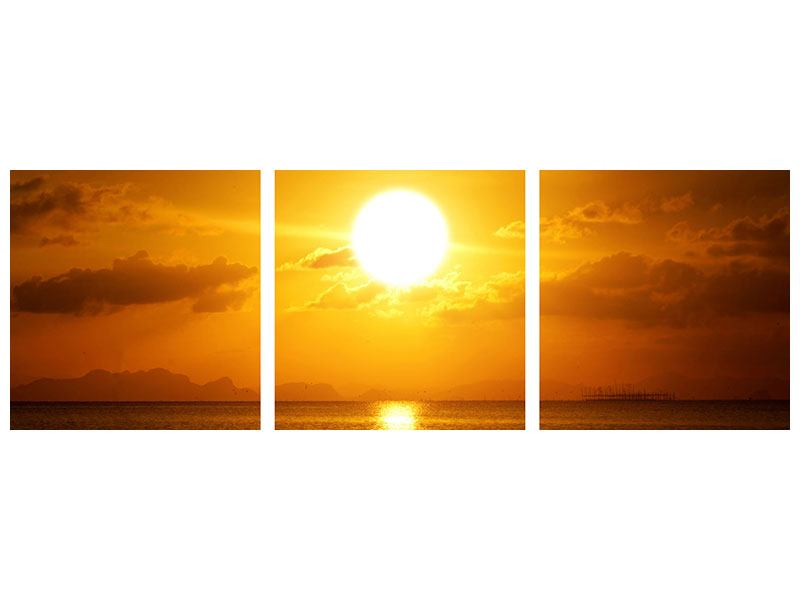 Panorama Metallic-Bild 3-teilig Sonnenuntergang See