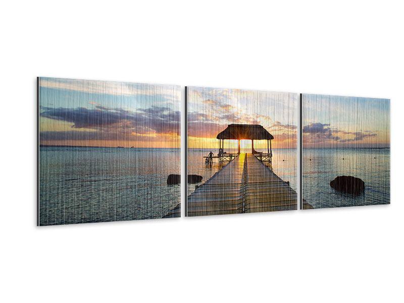 Panorama Metallic-Bild 3-teilig Romantik auf Mauritius