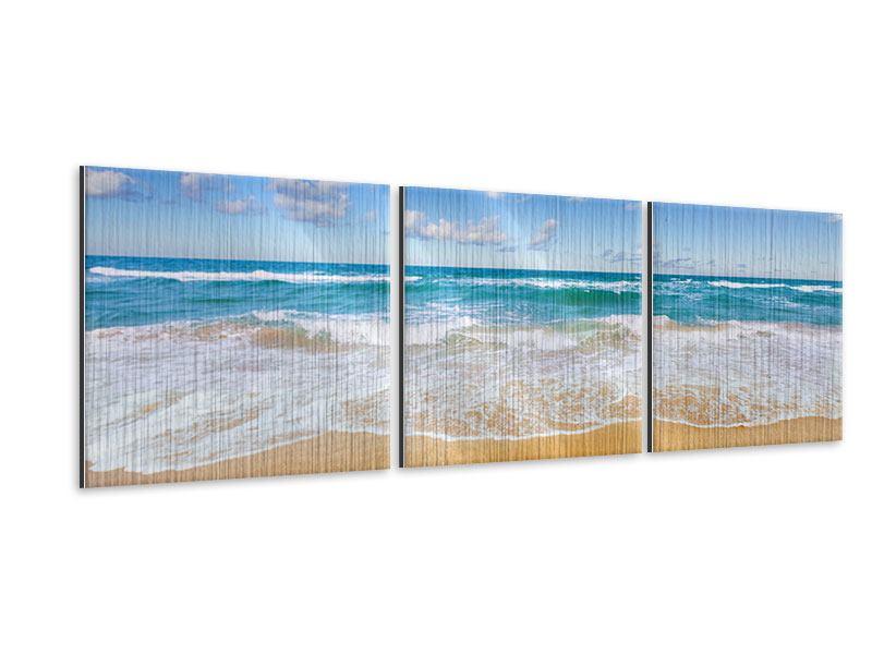 Panorama Metallic-Bild 3-teilig Die Gezeiten und das Meer
