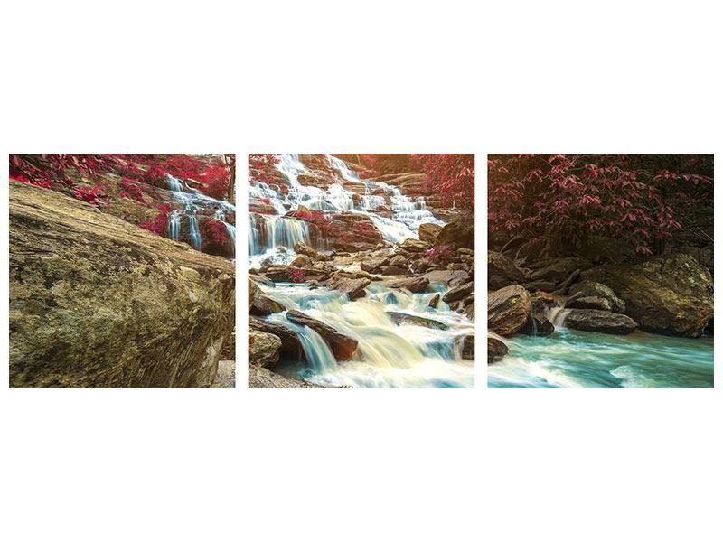 Panorama Metallic-Bild 3-teilig Exotischer Wasserfall