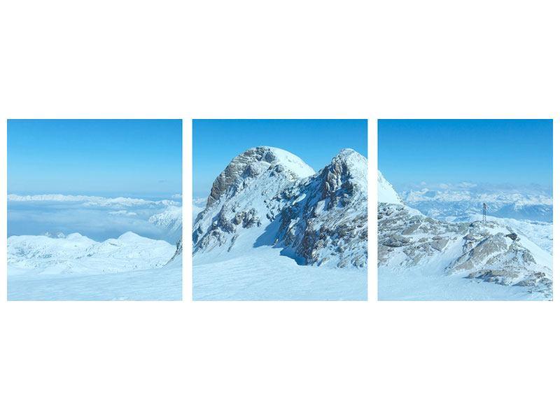 Panorama Metallic-Bild 3-teilig Über den Wolken