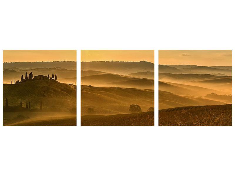 Panorama Metallic-Bild 3-teilig Sonnenuntergang im Gebirge