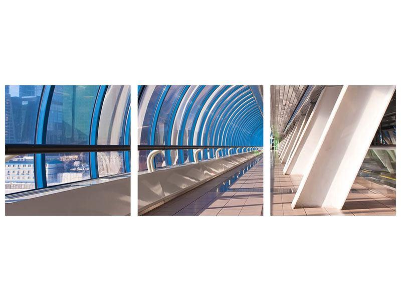 Panorama Metallic-Bild 3-teilig Hypermoderne Brücke
