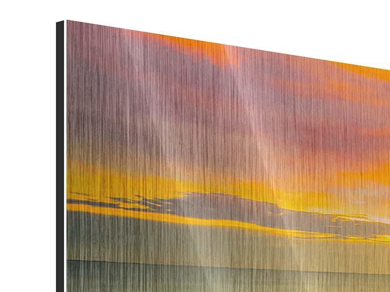 Panorama Metallic-Bild 3-teilig Eine Holzbrücke im fernen Osten
