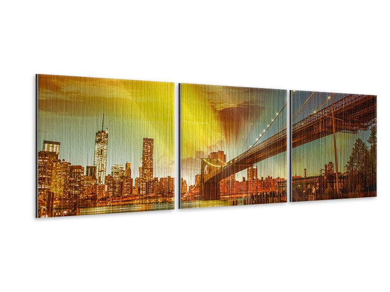 Panorama Metallic-Bild 3-teilig Skyline Brooklyn Bridge NY