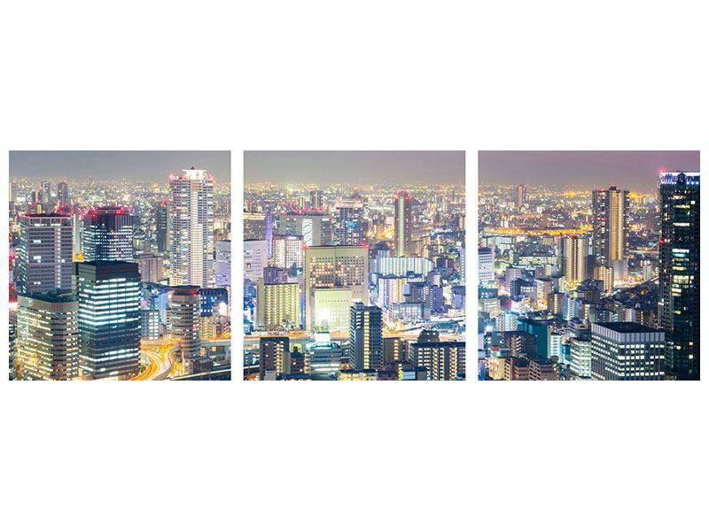 Panorama Metallic-Bild 3-teilig Skyline Osaka bei Sonnenuntergang