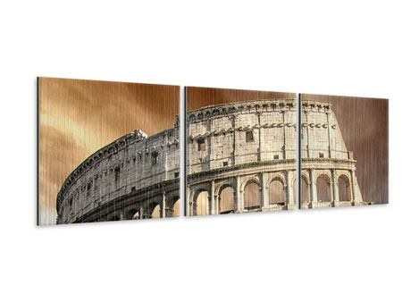 Panorama Metallic-Bild 3-teilig Kolosseum Rom