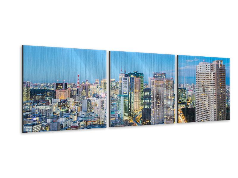 Panorama Metallic-Bild 3-teilig Skyline Tokio im Lichtermeer