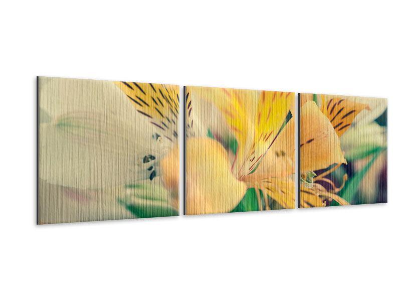 Panorama Metallic-Bild 3-teilig Tigerlilien