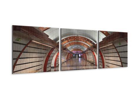 Panorama Metallic-Bild 3-teilig U-Bahn Station