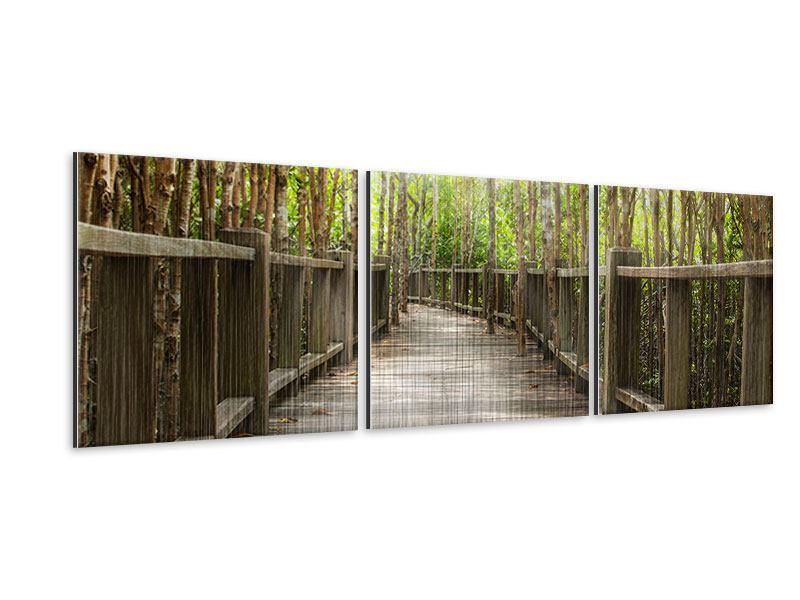 Panorama Metallic-Bild 3-teilig Hölzerne Brücke