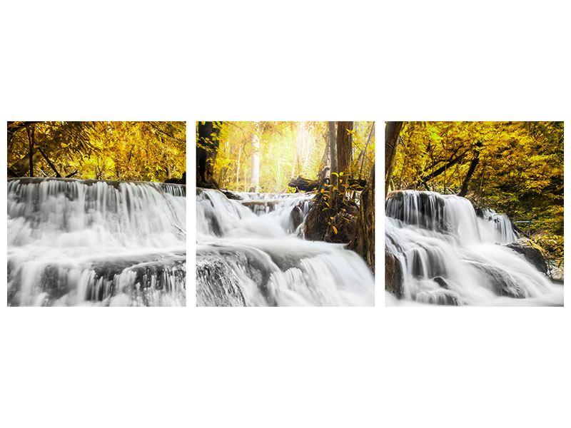 Panorama Metallic-Bild 3-teilig Wasser in Aktion