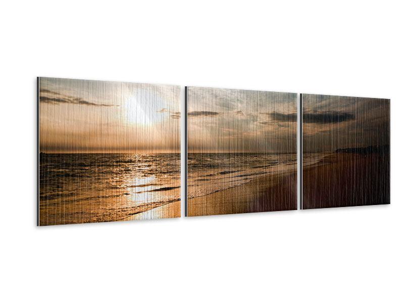 Panorama Metallic-Bild 3-teilig Strandspaziergang