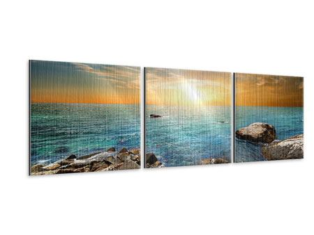 Panorama Metallic-Bild 3-teilig Meerwasser