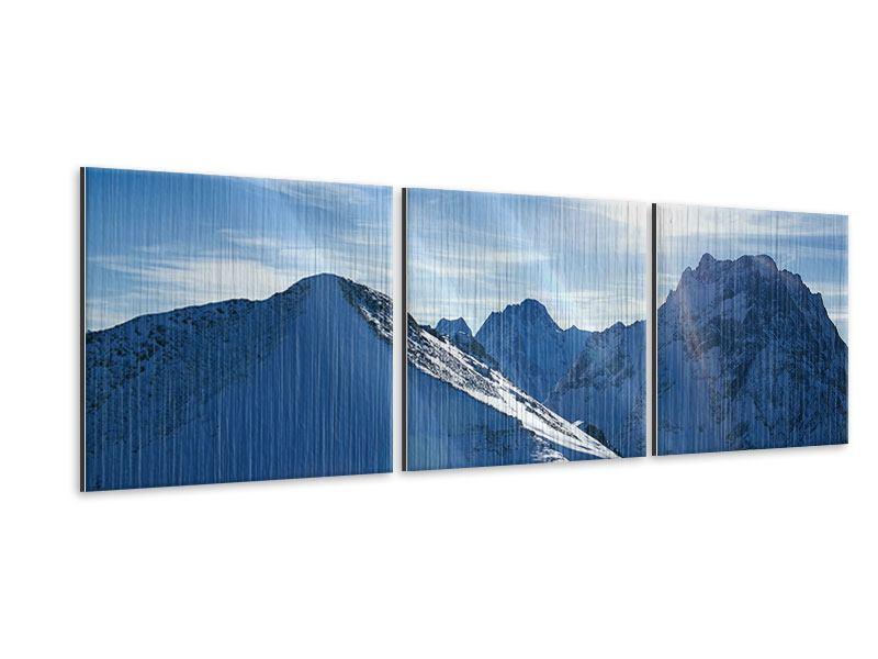 Panorama Metallic-Bild 3-teilig Der Berg im Schnee