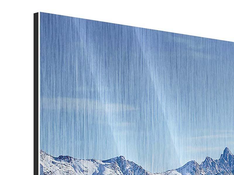 Panorama Metallic-Bild 3-teilig Gipfelspitzen