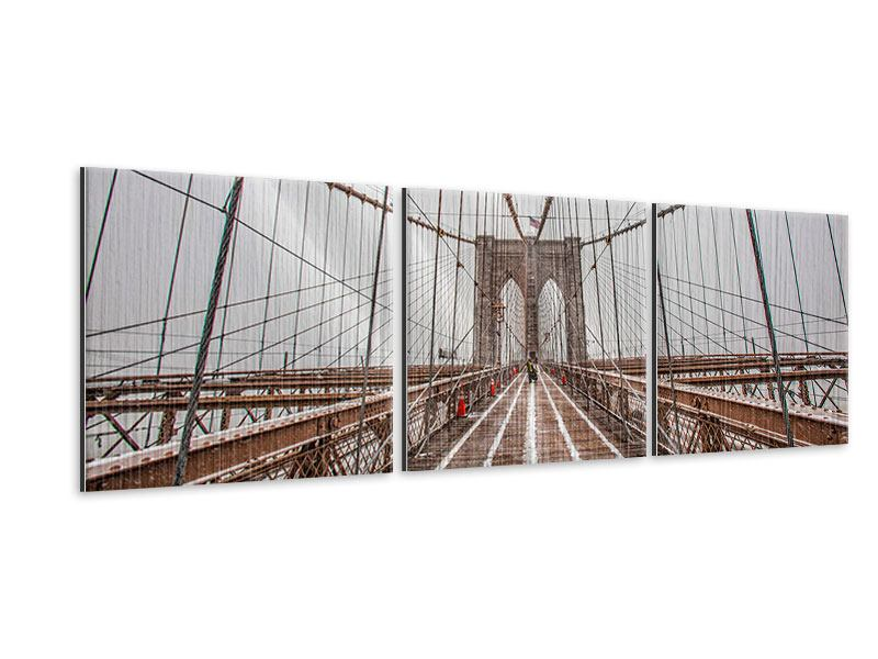 Panorama Metallic-Bild 3-teilig Auf der Brooklyn Bridge
