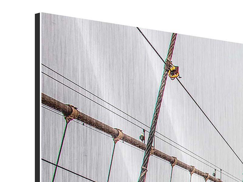 Panorama Metallic-Bild 3-teilig Auf der Brooklyn Bridge