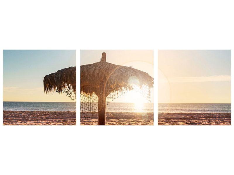 Panorama Metallic-Bild 3-teilig Der Sonnenschirm